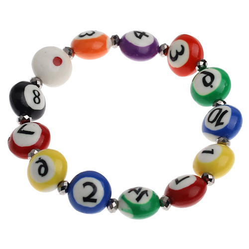 Fashion Billiards Mixed Number Age Pattern Polymer Clay Cheap Custom Bracelet Jewelry Wholesale