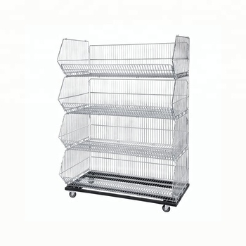 Wire Stacking Shelves | Supermarket Stacking Wire Basket Collapsible Wire Display Basket