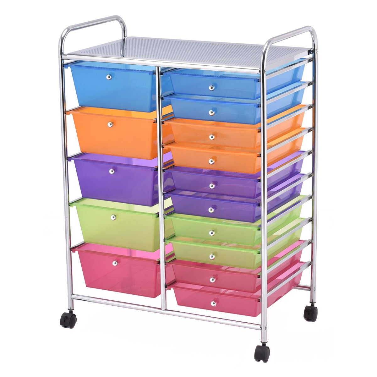 Get Quotations · Giantex 15 Drawer Rolling Storage Cart Tools Scrapbook  Paper Office School Organizer (15 Drawer)