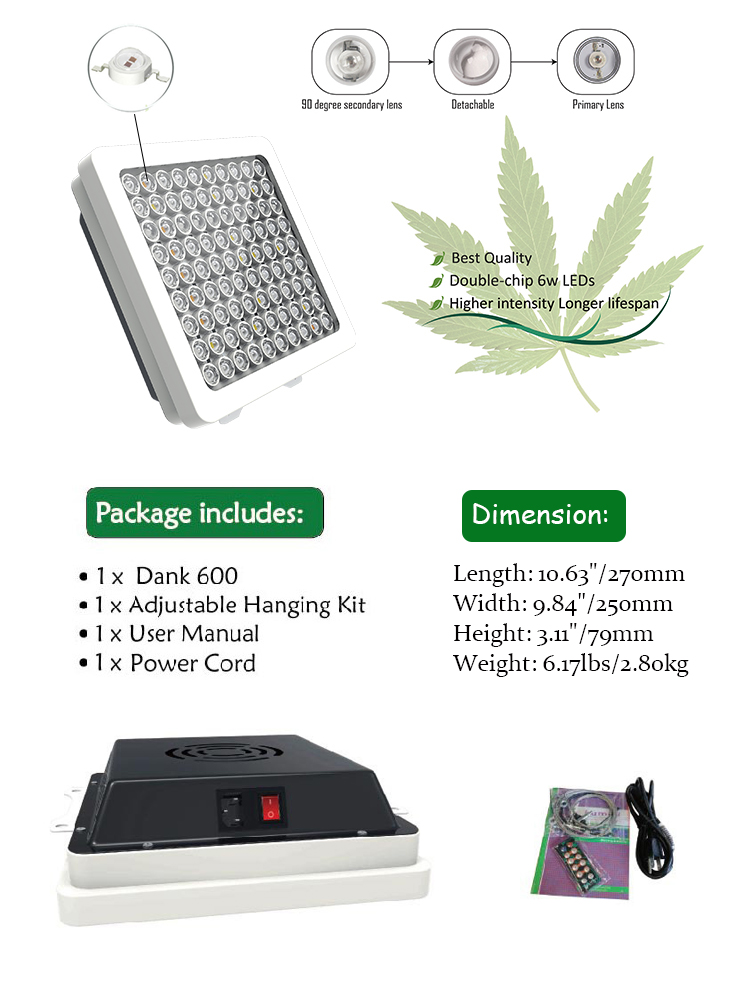 Factory Direct Sales Cheap Horticultural Flower 600 Watt Led Grow Taller Hanging Light Housing For Microgreens With Veg Bloom