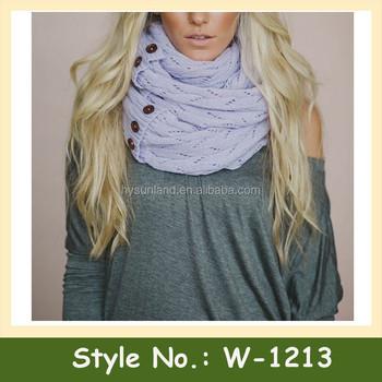 W 1213 Women Warm Neck Warmer Crochet Pattern Scarves With Button