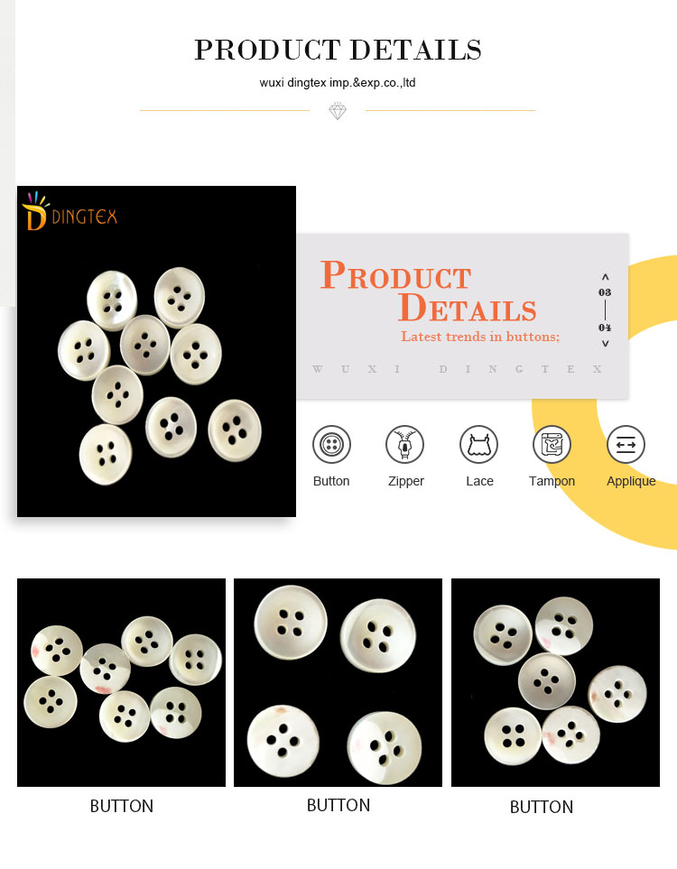 Wholesale 4 holes white natural shell shirt sewing buttons