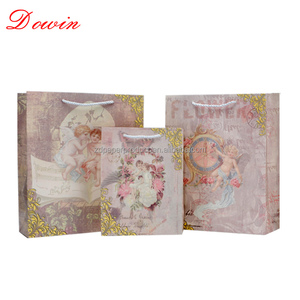 Factory Wholesale Luxury Matte Lamination Shopping Packaging Design Printing Custom European Angel Baby Paper Bags