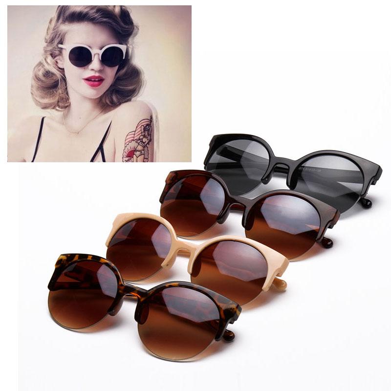 03a2e3081f Get Quotations · Retro Style Half Frame Semi-Rimless Round Horn Rimmed  Summer Stylish Cat Eye Sunglasses Qrfth
