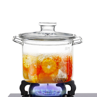 big size transparent clear pyrex glass cooking pot