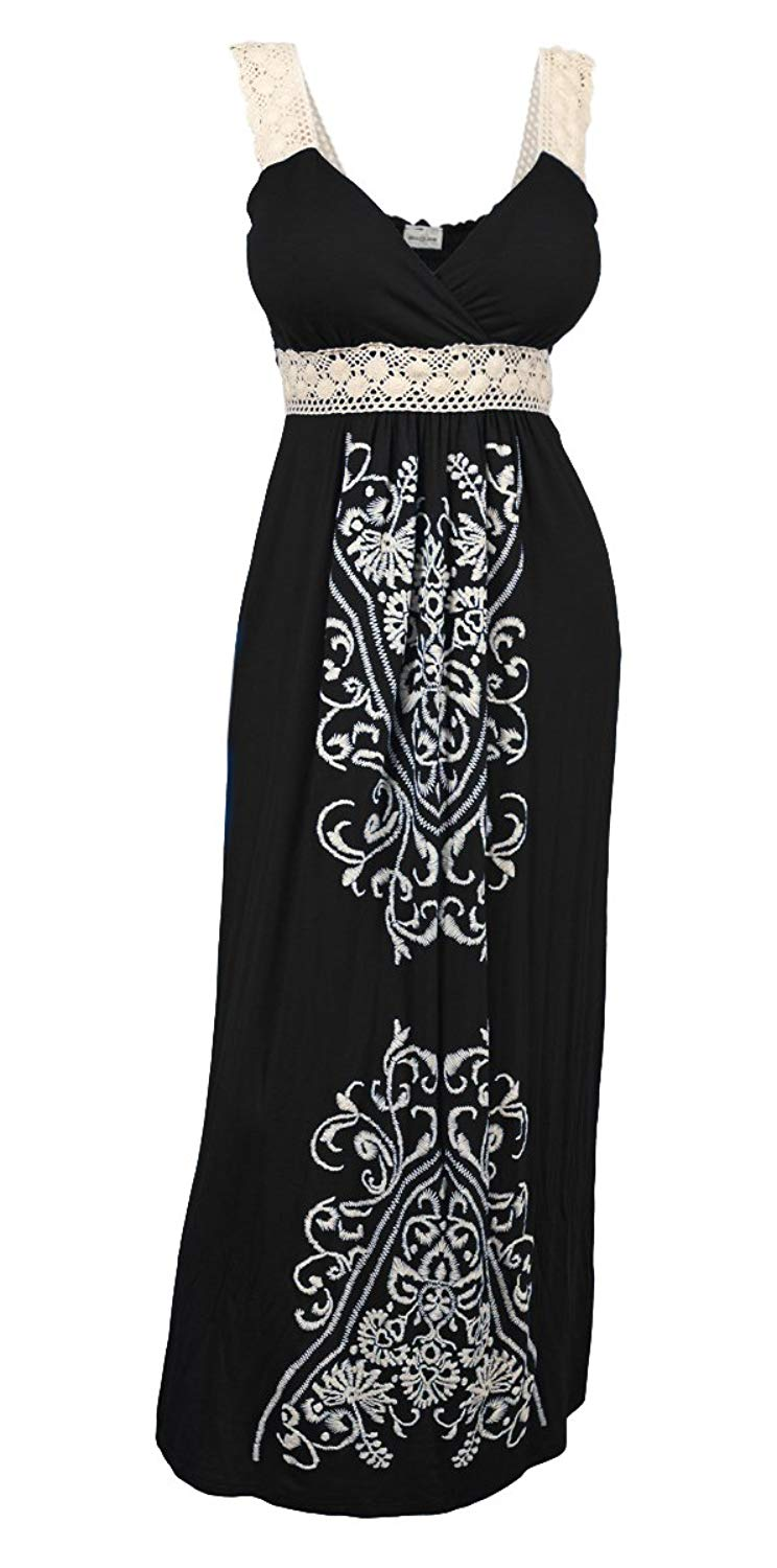 4055eba976a2 Get Quotations · eVogues Plus Size Embroidery Print Empire Waist Maxi Dress