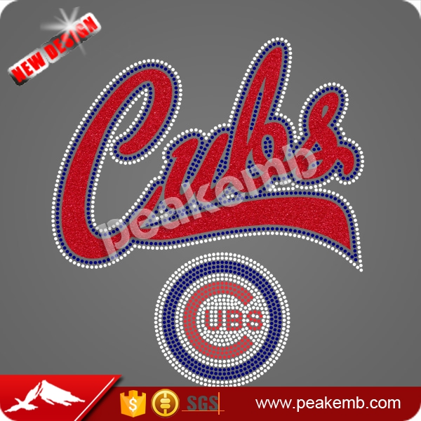 Beautiful Glitter Applique Chicago Cubs rhinestone Tranfser clothing