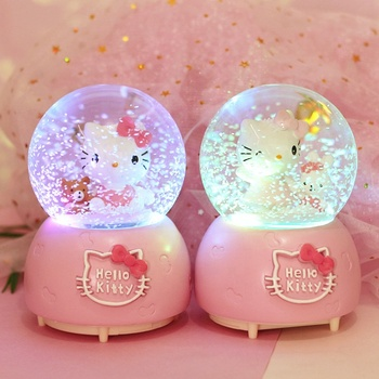 Creative automatic snow with lights luminous crystal ball music box for children gift ornaments