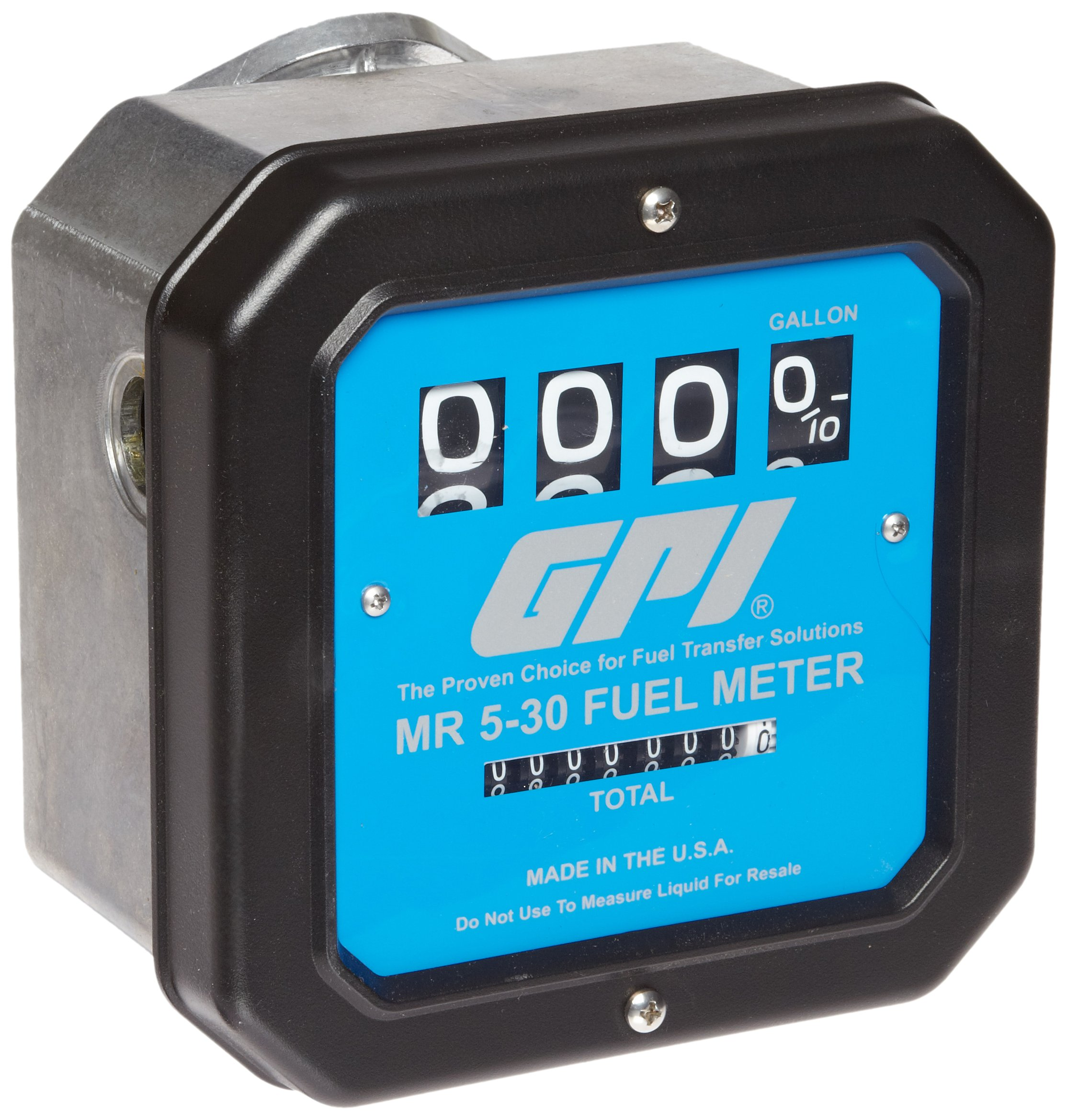 GPI 126300-05, MR530-G12N Mechanical Disk Fuel Flowmeter 1.5-Inch Inlet/Outlet, 5-30 GPM, 4-Digit Batch Display, Non-Resettable Cumulative Total, +/-2 Percent Accuracy