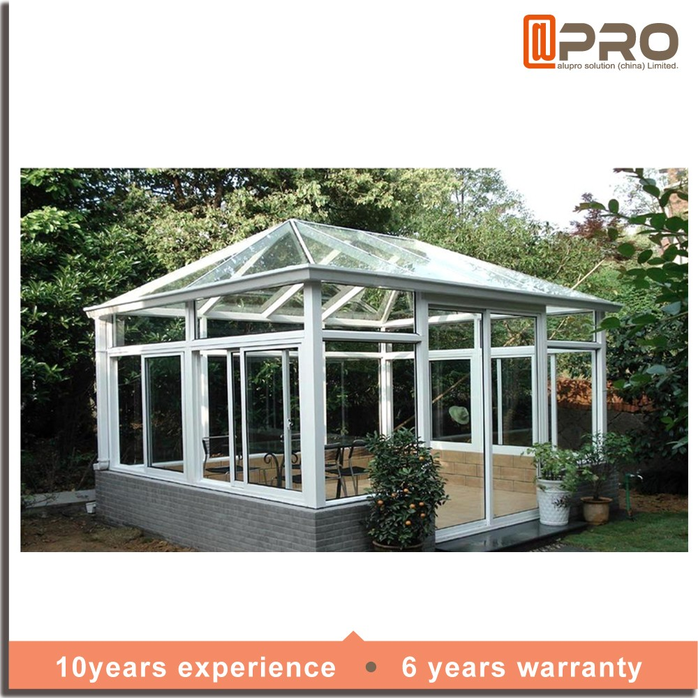 High quality water proof sunroom glass house prefabricated for Prefab glass house prices