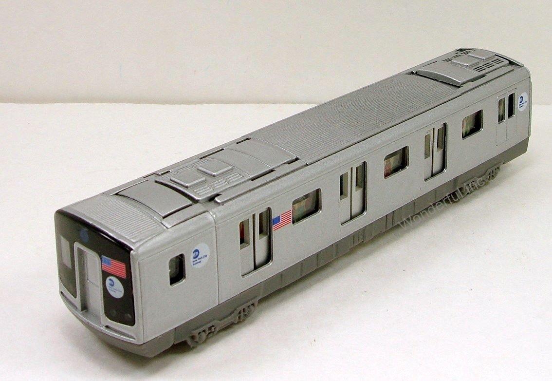 """New York City MTA subway E train car 7.5"""" diecast model with light & sound D11"""
