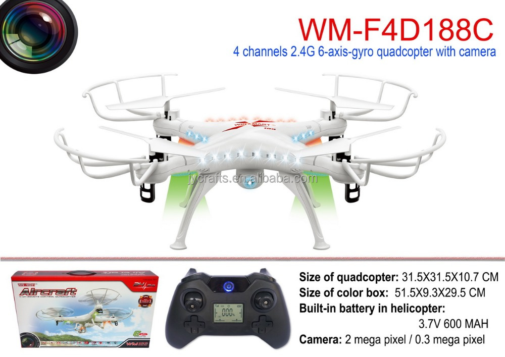 WM-F4D188 2.4G 4ch 6axis gyro rc drone with LED light 0.3 2.0mp camera walkera on sale