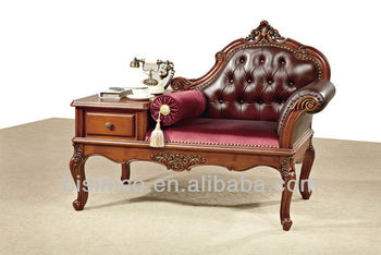 Antique Replica Telephone Table Desk With On Tufted Back Leather Seat