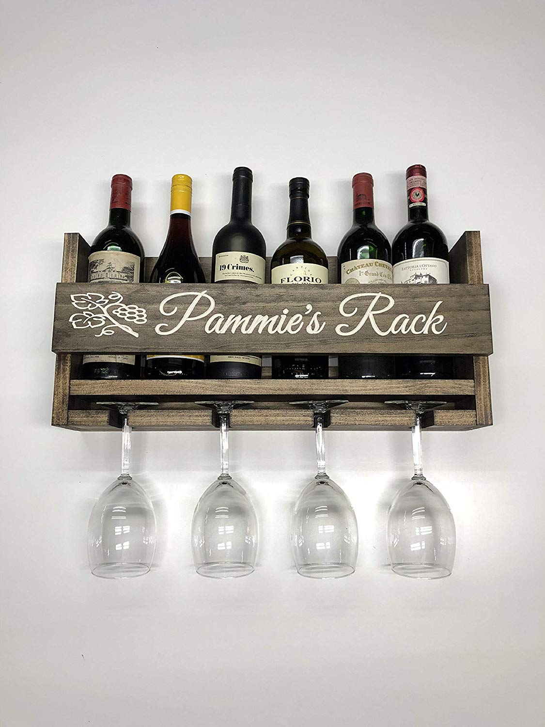 Personalized Wine Rack Engraved Rustic 6 Bottle Wall Mount With 4 Gl
