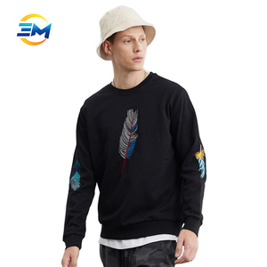 High fashion men cotton hoodie crewneck black with custom embroidered sweatshirts