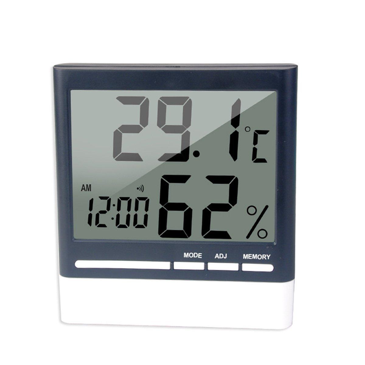 BESTOMZ Digital Hygrometer Clock Large LCD Display Indoor Thermometer Humidity Monitor Temperature Humidity Gauge