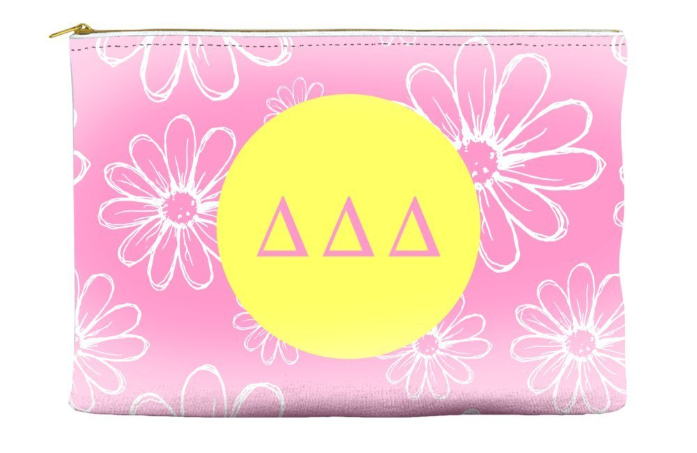 Delta Delta Delta (Tri Delta) Daisys Pink Cosmetic Accessory Pouch Bag for Makeup Jewelry & other Essentials
