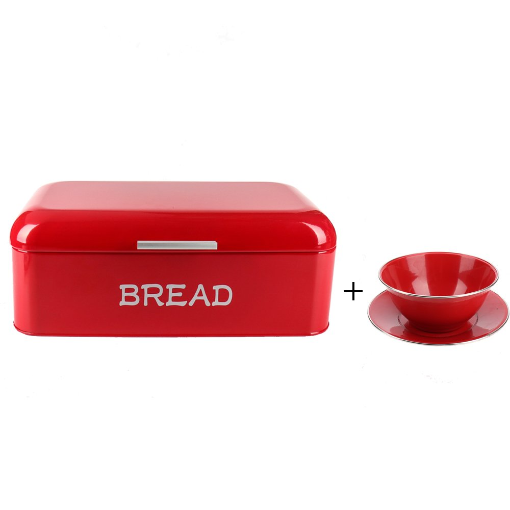 Hot Sale X384 Square Metal Large Vintage Kitchen Storage Tin Canister/Bread Box/Bin/Container/Holder/Holiday Gifts(Red)