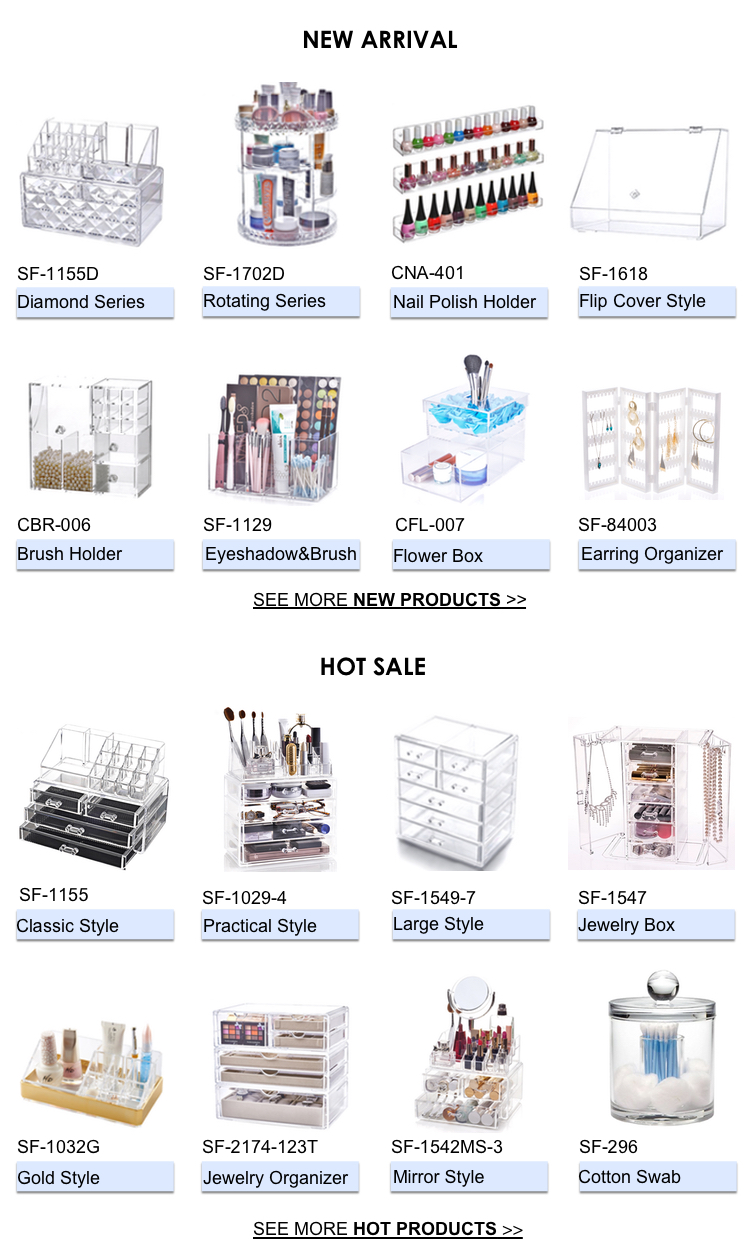 Top quality glass plastic drawer storage box