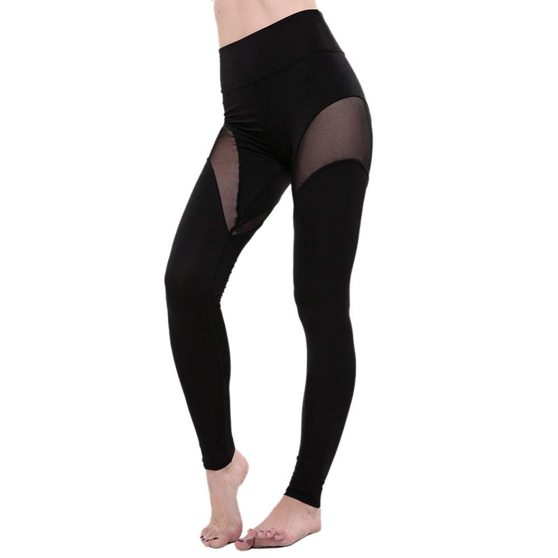 793113dd6a44b OCASHI Sexy Women's Patchwork Mesh Yoga Pants Leggings Soft Stretch  Trousers Fitness Tights Gym Running