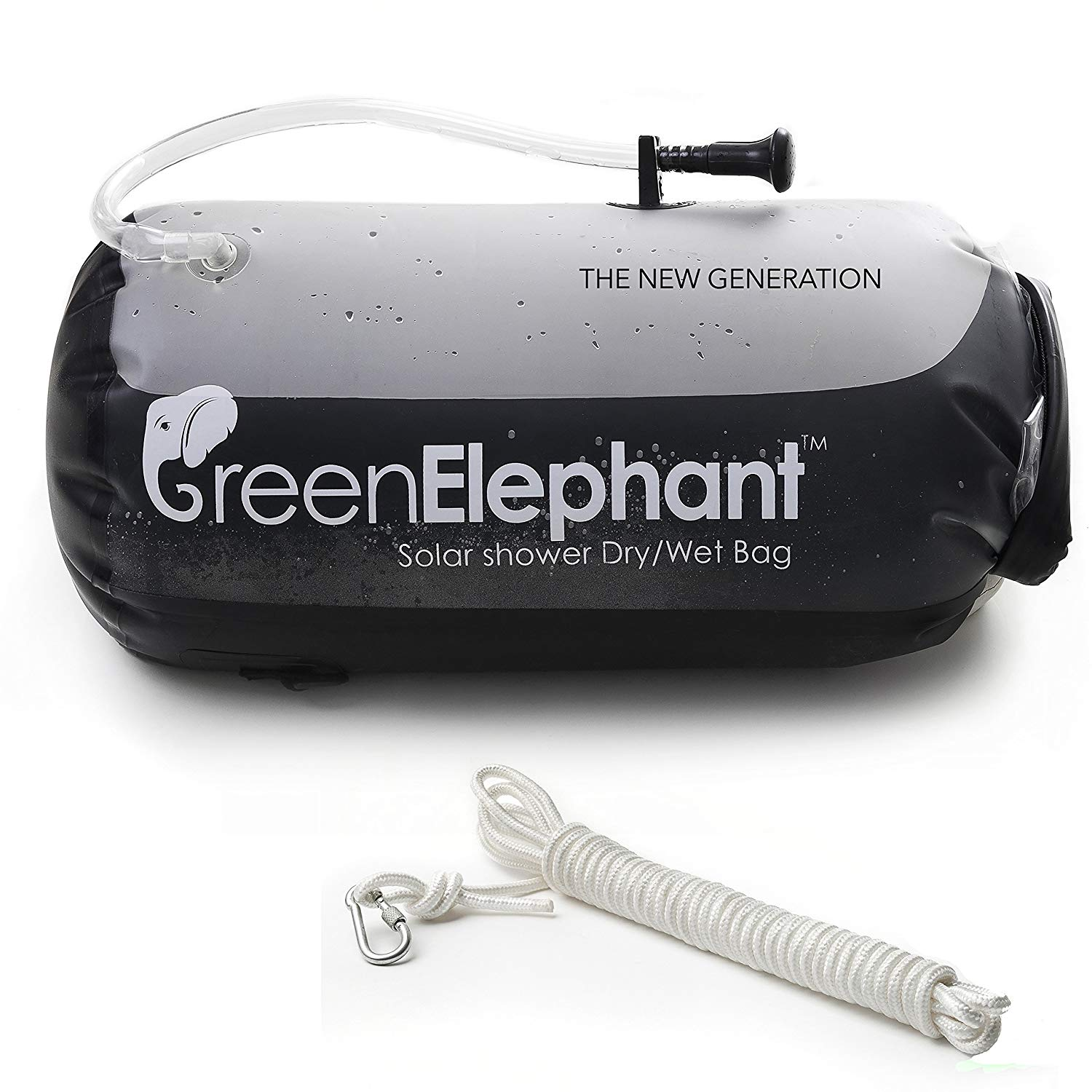 Green Elephant 2-in-1 Solar Shower & Dry Bag – Non-Toxic TPU 5-Gallon Portable Shower Doubles as Dry Storage Sack for Camping, Hiking, Fishing, Boating, Beach + On/Off Shower Hose, Free 5m Rope