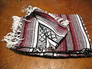 Authentic Mexcian Yoga Blanket Gray/black/white/burgandy