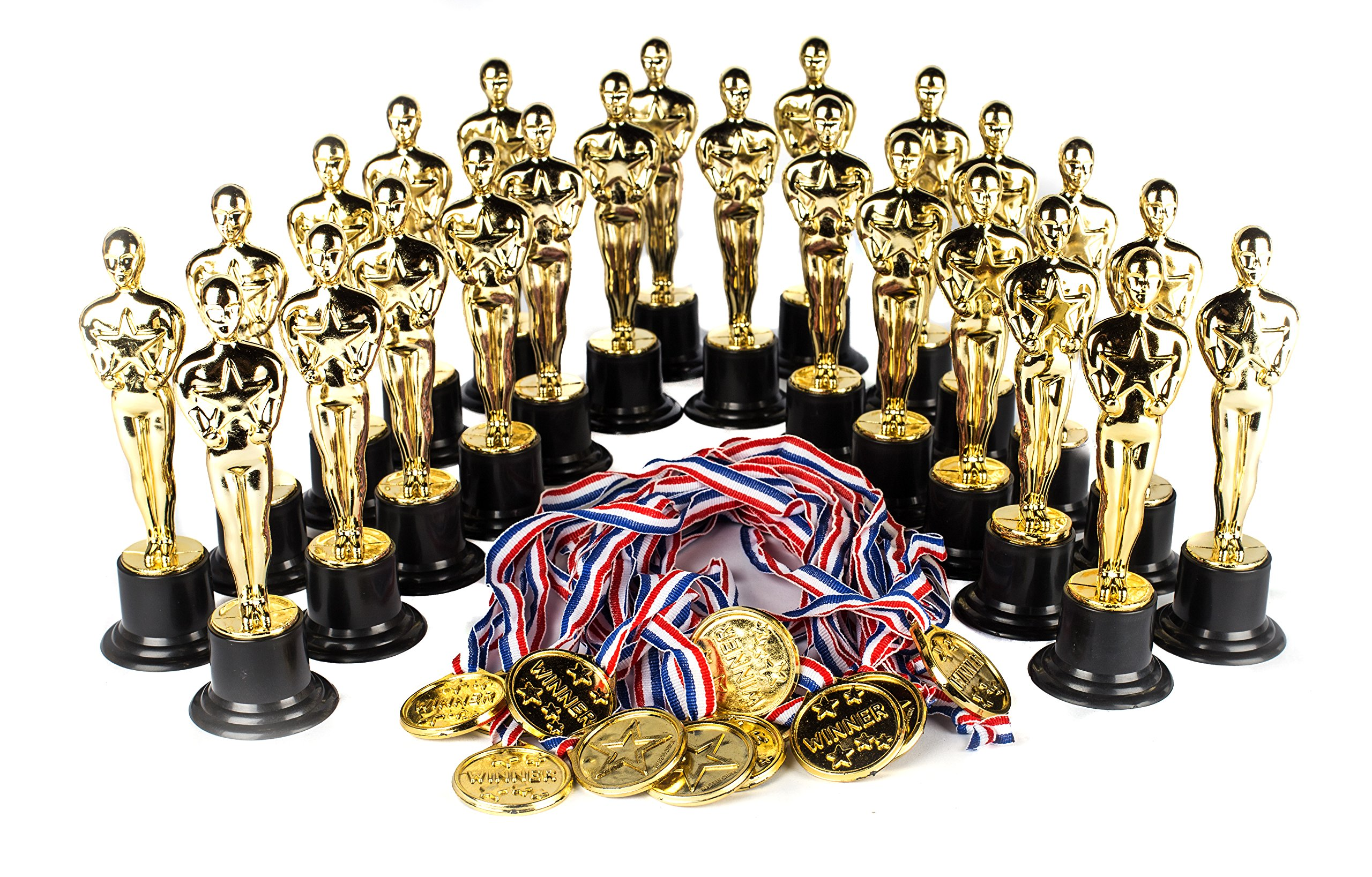 "Award Medal of Honor Trophy Award Set of 48 Includes 24 Gold Winner Award Medals; 24 Gold Award Trophy Statues 6"", Award Trophies for Award Ceremonies, Party Favors, Goody Bag Stuffers, Party Supplies"