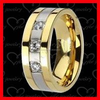 Gold plated jewelry 316L stainless steel ring fashion jewelry with high polish