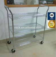 Good Qualty Wire Shelving Type Adjustable Chrome Wire Utility Cart with NSF