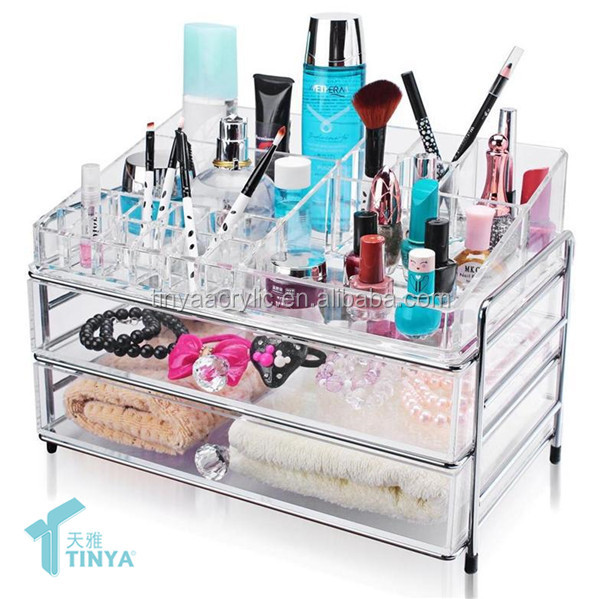 6 Drawer Christmas Gifts Idea Makeup Organizer Cosmetic Storage Box,Wholesale Transparent Acrylic Cosmetic Rack With Hinged Lid