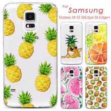 Phone Case Cover For Samsung Galaxy S4 S5 S6 S6Edge S6Edge+ Ultra Soft TPU Transparent Fruit Pineapple Lemon Watermelon Cover