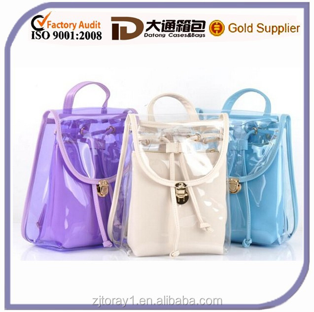2015 Kids Girls Transparent Drawstring Clear Backpack For School ...