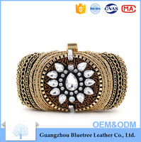 Europe market Women metal chain heavy industry dinner clutch bag evening