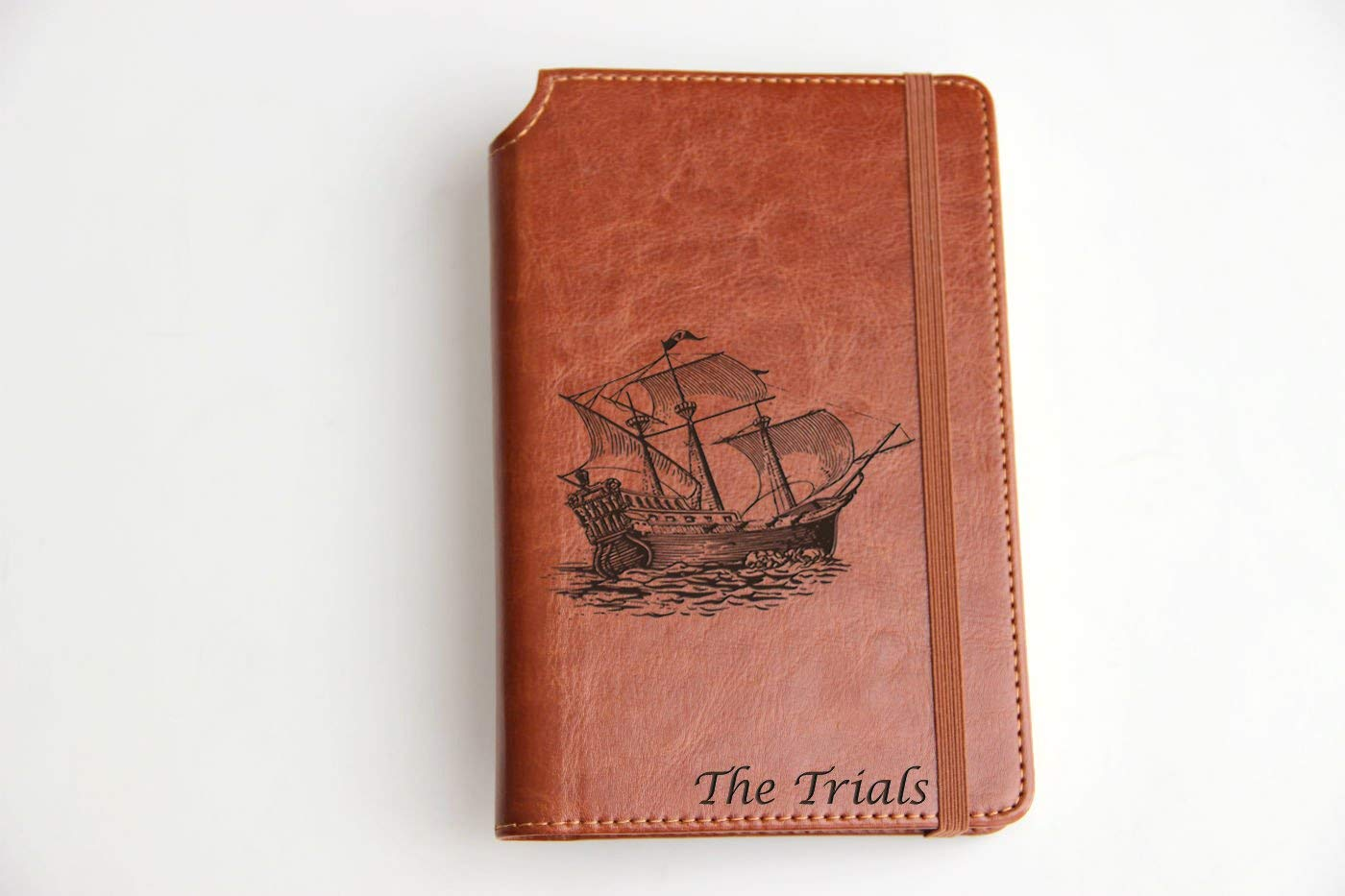 Express shipping Customizable laser engraved sailing boat ship Illustration Journal Customizable engraved Journal leather bound, strip with the same color to keep it closed