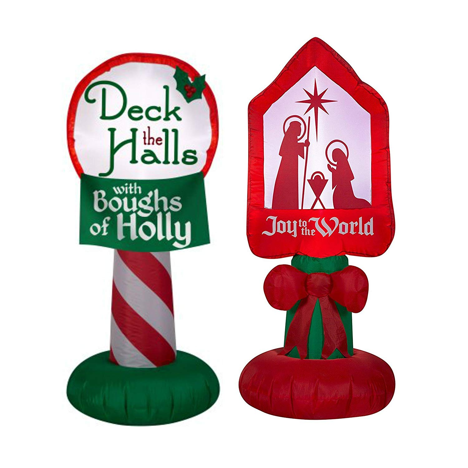 Christmas Nativity Joy To The World Light Up Self Inflatable Yard Decor and Airblown Holiday Inflatable Deck the Halls with Boughs of Holly sign 3.5 ft tall