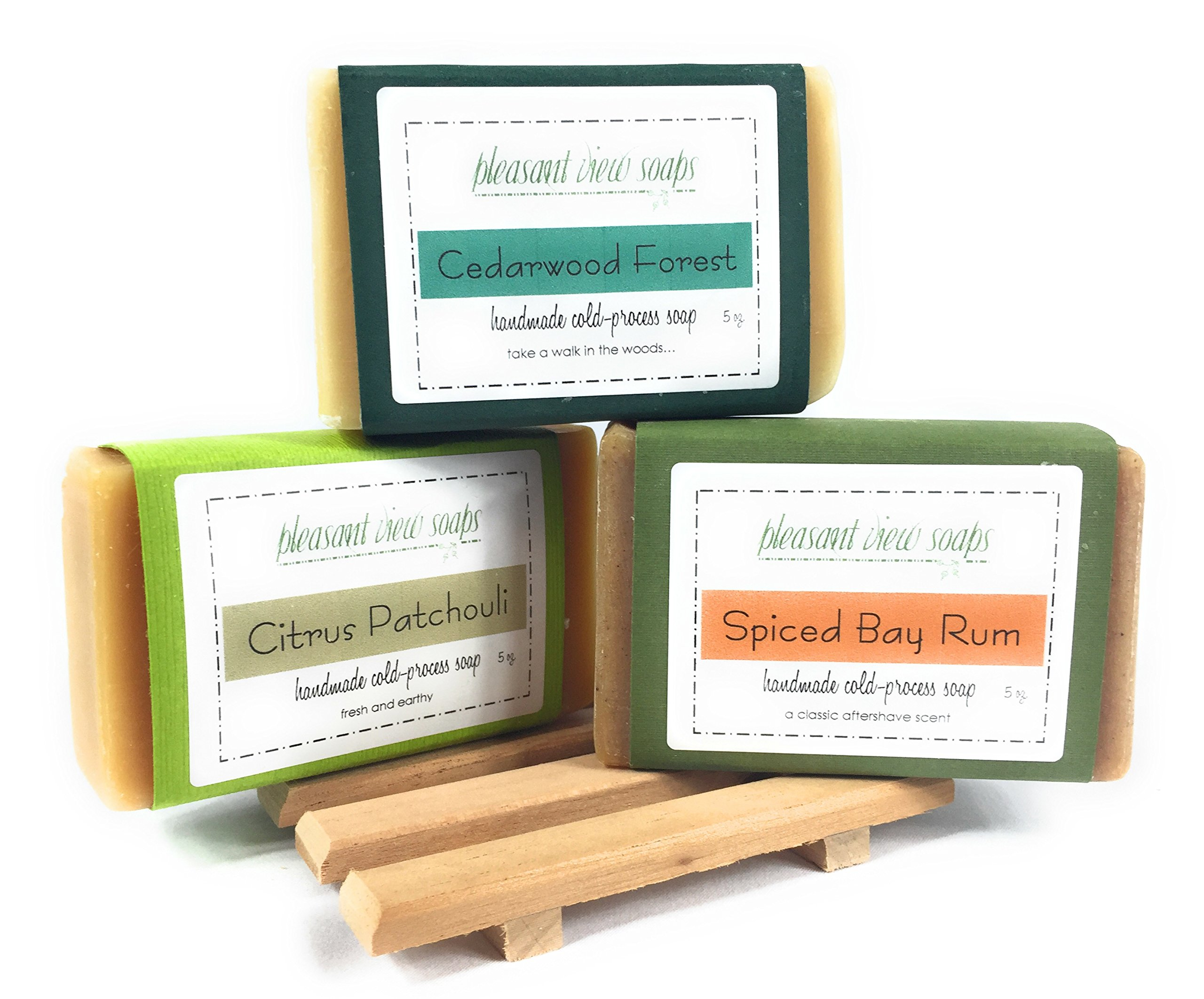 Natural Handmade Soap Gift Set - 3 Large 5 Ounce Bars with Aromatic Cedar Dish - Essential Oil Scents: Spiced Bay Rum, Citrus Patchouli, Cedarwood Forest - Elegant Organza Gift Bag