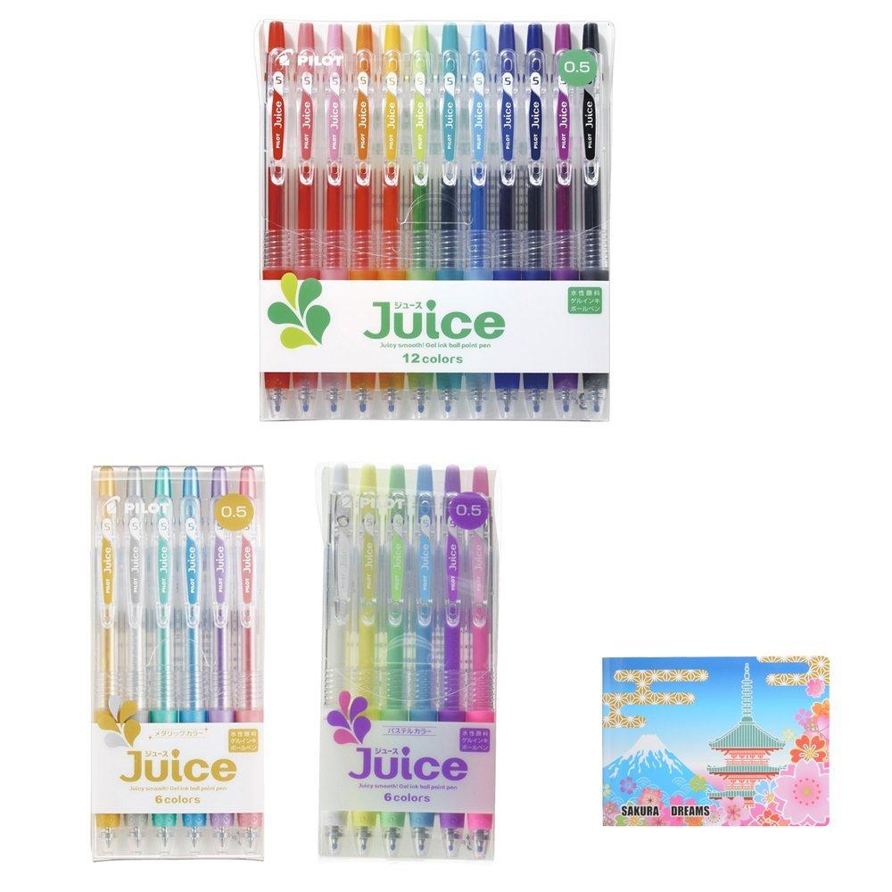 Pilot Gel Ballpoint Pen Juice Bundle Set , 12 Colors Set 0.5mm ( LJU120EF-12C ) + 6 Pastel Colors Set 0.5mm ( LJU-60EF-6CP ) + 6 Metallic Colors Set 0.5mm ( LJU-60EF-6CM )