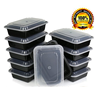 ChefLand Microwavable Food Container with Lid Bento Box, Black, 10-Pack