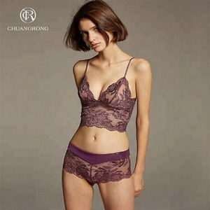 Latest comfortable cheap net ladies bra lace lingerie set