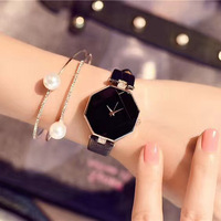 Fashion Rhombus Ladies Watch Women Leather Wrist Decoration Watches Diamond Gold Clock Relogio