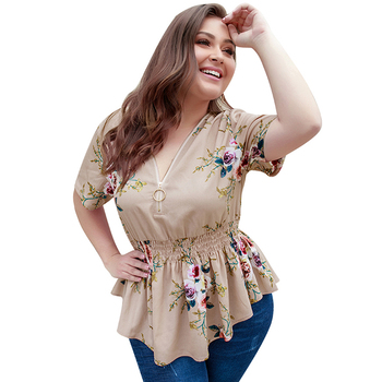 Lover Beauty Latest Design Printed Ladies Blouse Plus Size Women Clothing Casual Tops