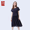 HS Fashionable Office Navy Stripe Casual Summer Women Rayon Dress