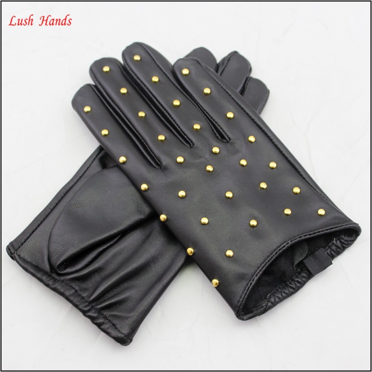 ladies winter thin driving leather hand gloves with nails