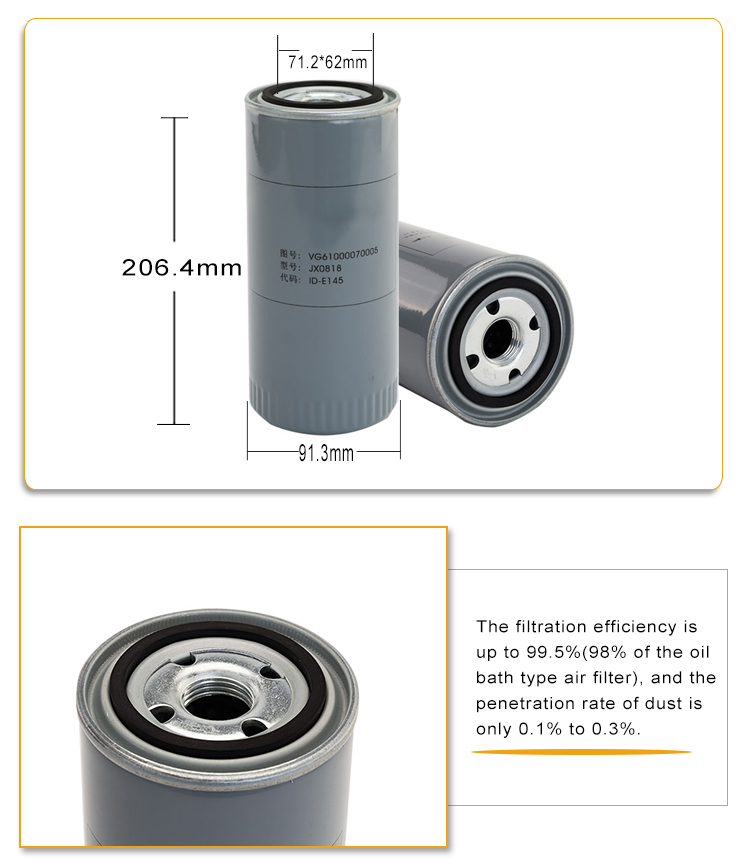 Heavy truck filter element JX0818 spin on filter Oil filter for engine spare parts