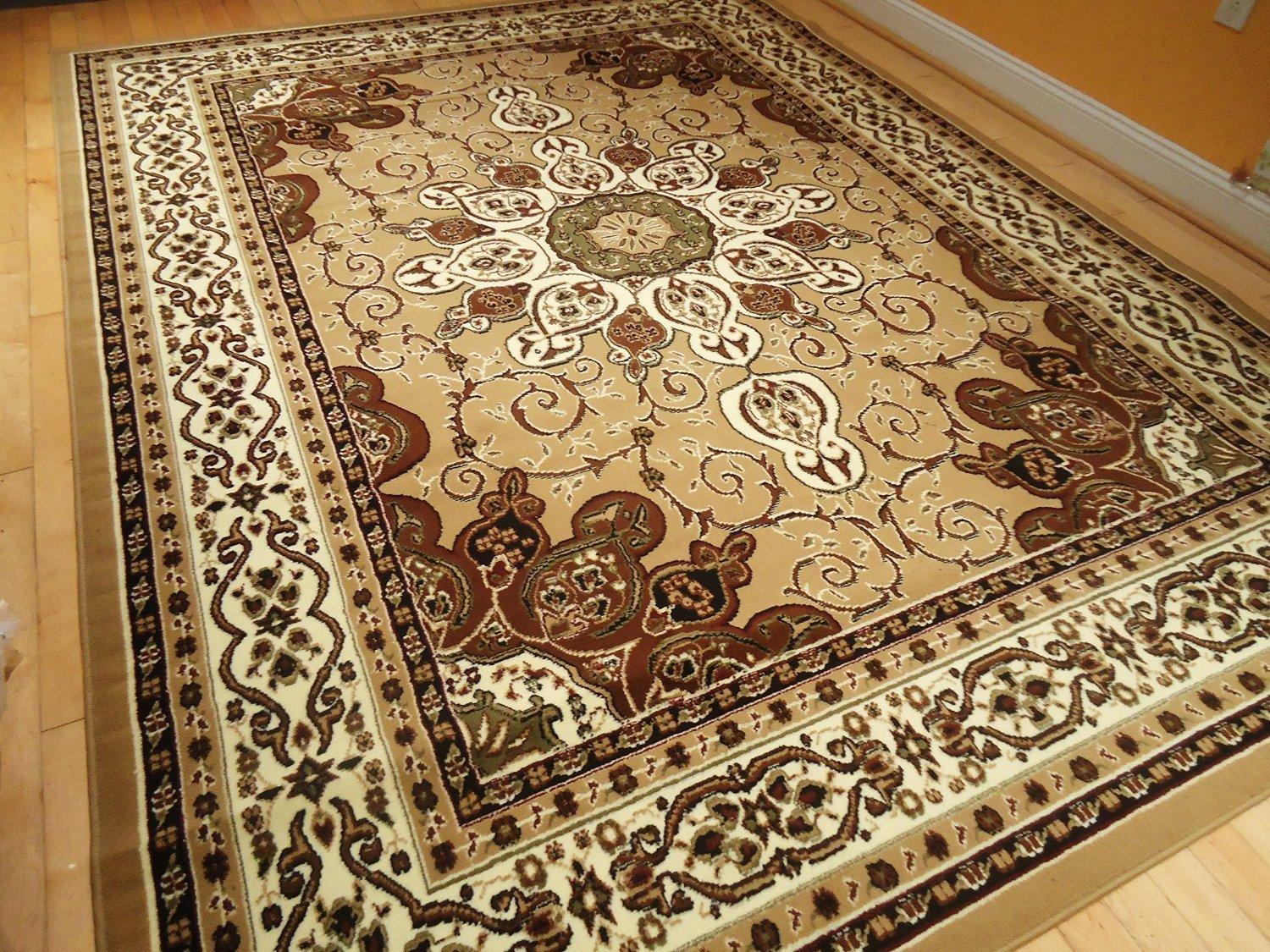 Buy persian style rug 8x11 beige brown rug 8x10 area rug - Gold rug for living room ...