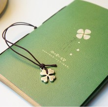 Vintage Fashion Notebook,Key Design Vintage Cowhide Paper Tsmip Diary Clover Book notepads/Diary 0503