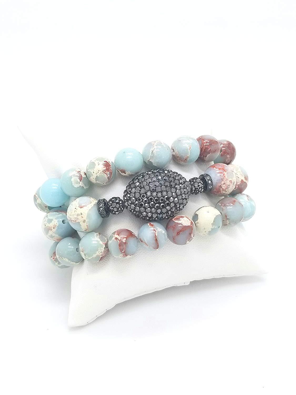 Monika Friend,Imperial Jasper 10/12 mm Beads Stacking Bracelet Set,CZ Rings & Beads