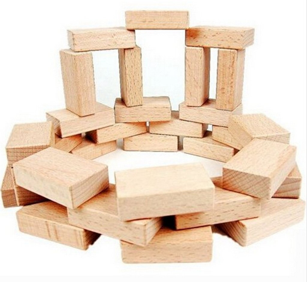 Onshine 50PCS/LOT High quality solid wood blocks Wood rectangle building blocks Wooden cube Wooden toys Math toys 3x6x1.5cm