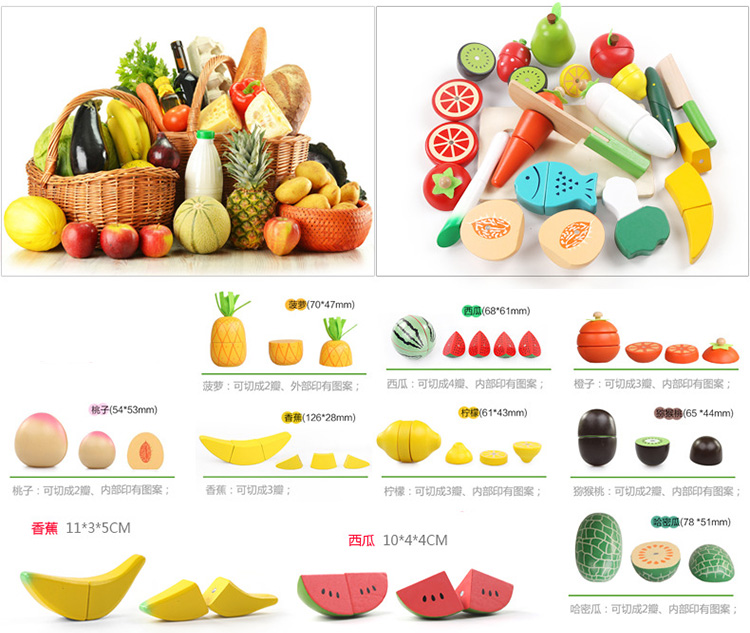 Kitchen Cooking Lemon Role Play Toy Wooden Fruit Vegetable Cutting Food Sets