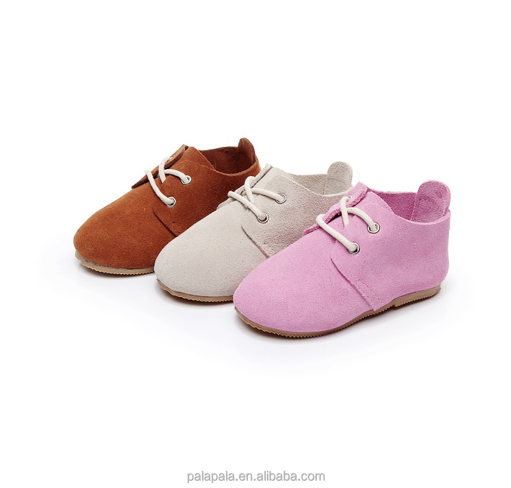 2018 Cow suede lace up kids shoes children,kids shoes wholesale baby oxford shoes